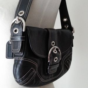 Coach f10188 Soho black leather flap shoulderbag